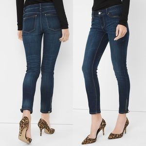 WHBM Leather Trim Skimmer Skinny Ankle Jeans